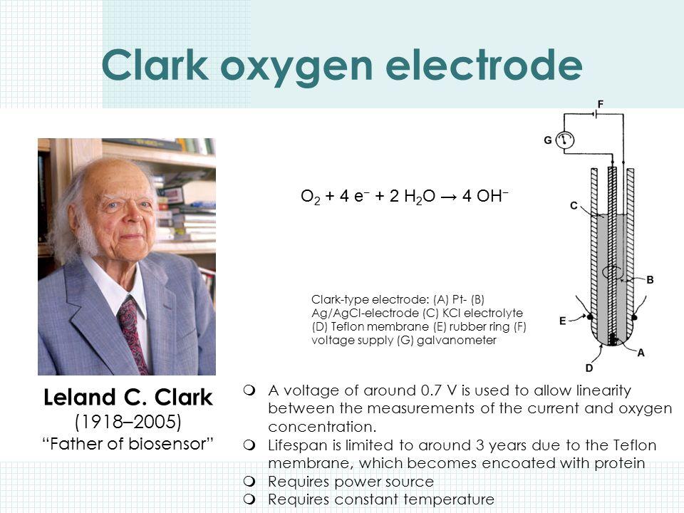 "Clark oxygen electrode Leland C. Clark (1918–2005) ""Father of biosensor"" Clark-type electrode: (A) Pt- (B) Ag/AgCl-electrode (C) KCl electrolyte (D) T"