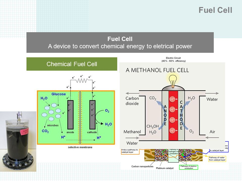 Enzymatic Biofuel Cell Microbial Biofuel Cell Fuel Cell A device to convert chemical energy to eletrical power Chemical Fuel Cell BioFuel Cell PMFC DM