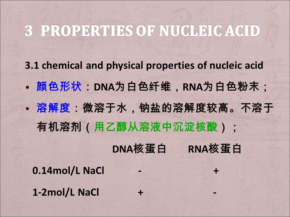 3.1 chemical and physical properties of nucleic acid 颜色形状: DNA 为白色纤维, RNA 为白色粉末; 溶解度:微溶于水,钠盐的溶解度较高。不溶于 有机溶剂(用乙醇从溶液中沉淀核酸); DNA 核蛋白 RNA 核蛋白 0.14mol/L NaCl - + 1-2mol/L NaCl + -