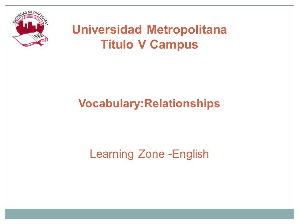 Vocabulary:Relationships Learning Zone -English Universidad Metropolitana Título V Campus