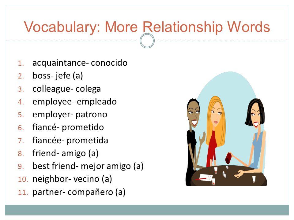 Vocabulary: More Relationship Words 1. acquaintance- conocido 2.