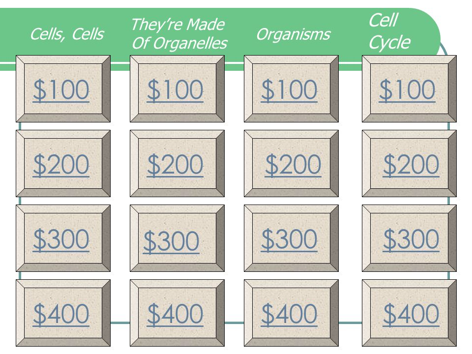 $100 $200 $300 $400 $100 $200 $300 $400 Cells, Cells They're Made Of Organelles Organisms Cell Cycle