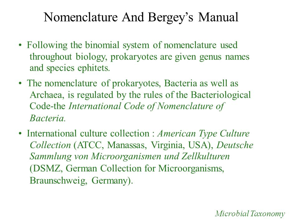 Nomenclature And Bergey's Manual Following the binomial system of nomenclature used throughout biology, prokaryotes are given genus names and species ephitets.