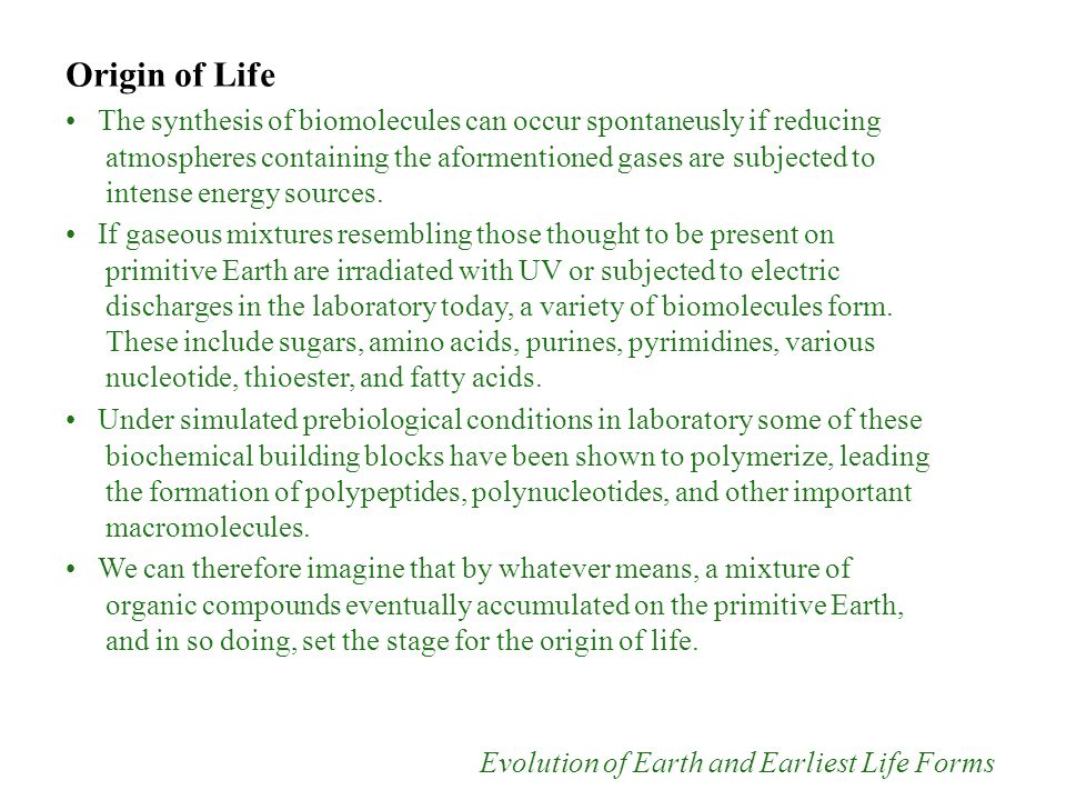 Origin of Life The synthesis of biomolecules can occur spontaneusly if reducing atmospheres containing the aformentioned gases are subjected to intens