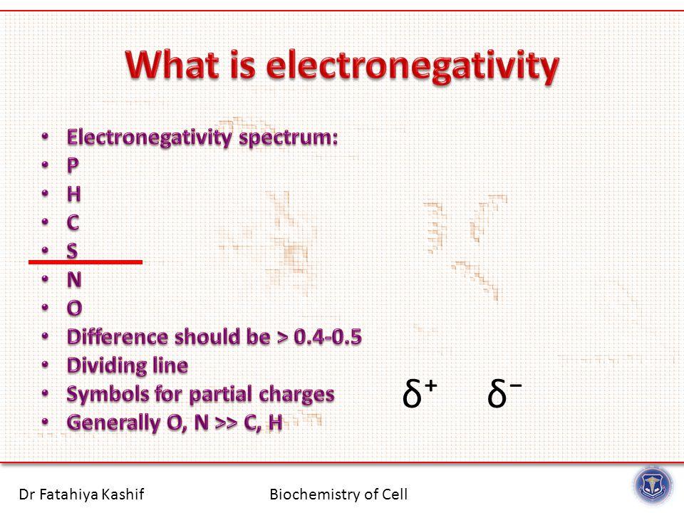 Biochemistry of CellDr Fatahiya Kashif δ⁺δ⁻