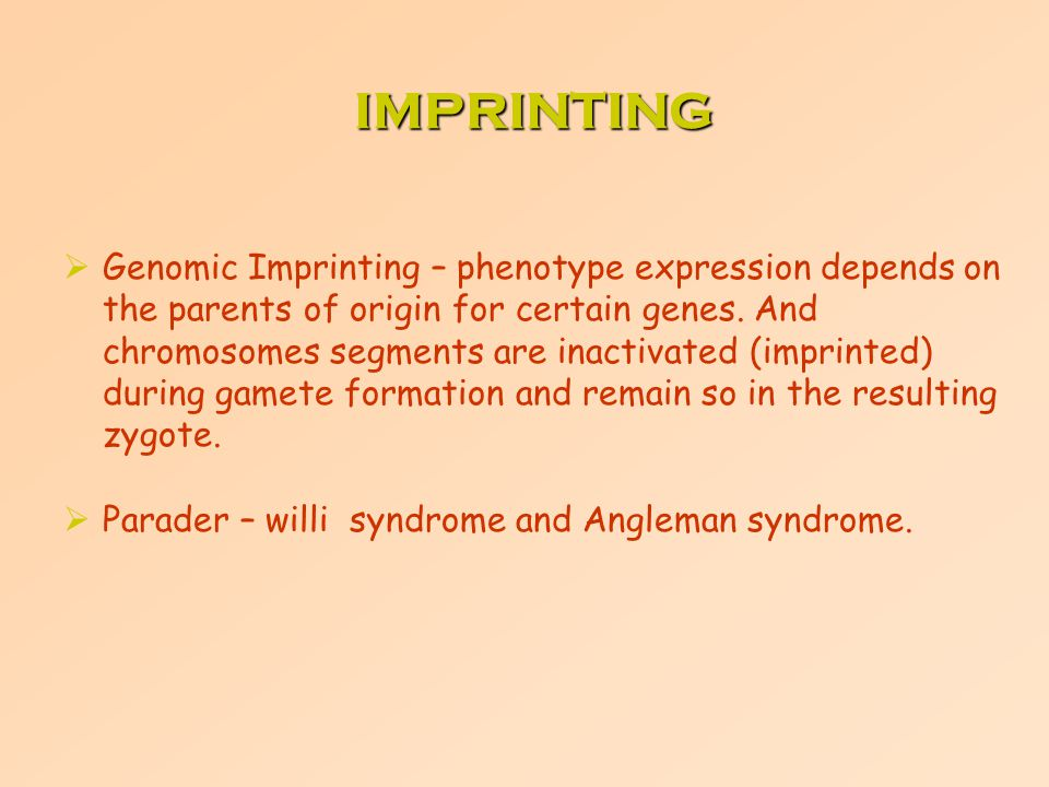  Genomic Imprinting – phenotype expression depends on the parents of origin for certain genes. And chromosomes segments are inactivated (imprinted) d