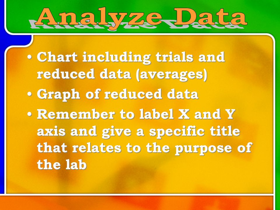 Chart including trials and reduced data (averages) Chart including trials and reduced data (averages) Graph of reduced data Graph of reduced data Remember to label X and Y axis and give a specific title that relates to the purpose of the lab Remember to label X and Y axis and give a specific title that relates to the purpose of the lab