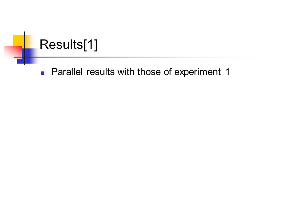 Results[1] Parallel results with those of experiment 1