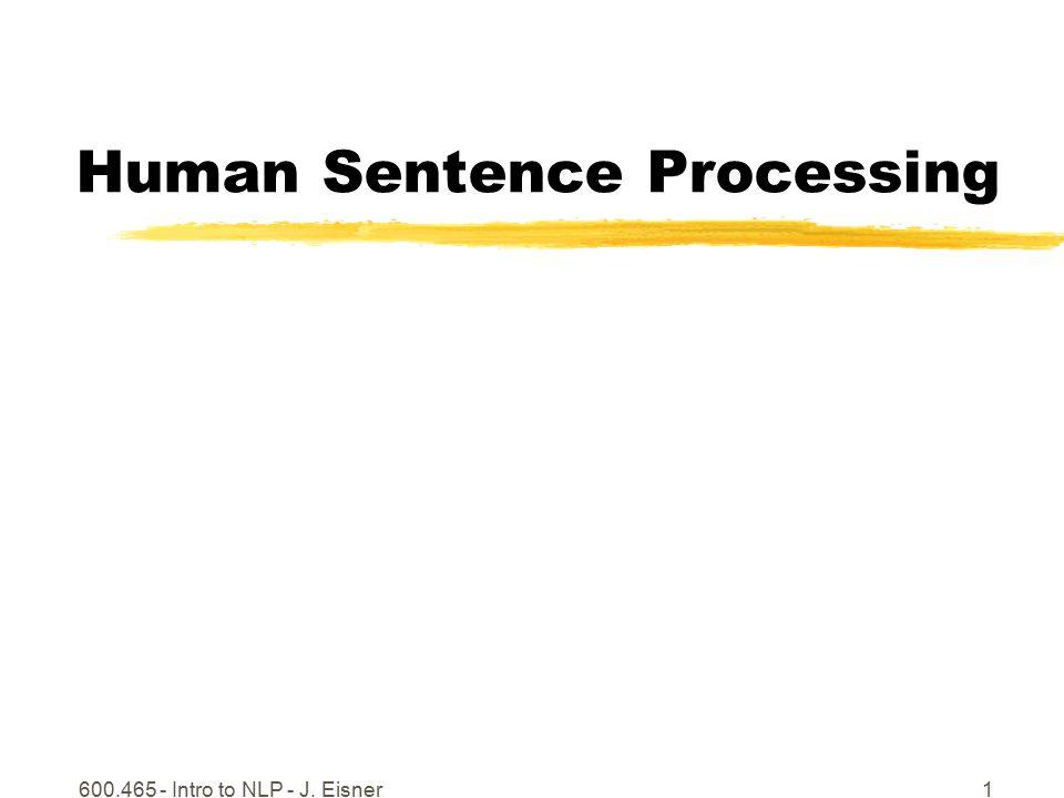 600.465 - Intro to NLP - J. Eisner1 Human Sentence Processing