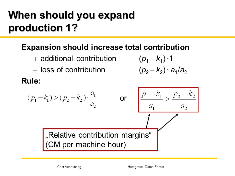 Cost Accounting Horngreen, Datar, Foster When should you expand production 1? Expansion should increase total contribution  additional contribution(p