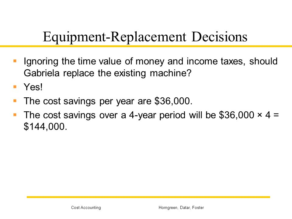 Cost Accounting Horngreen, Datar, Foster Equipment-Replacement Decisions  Ignoring the time value of money and income taxes, should Gabriela replace