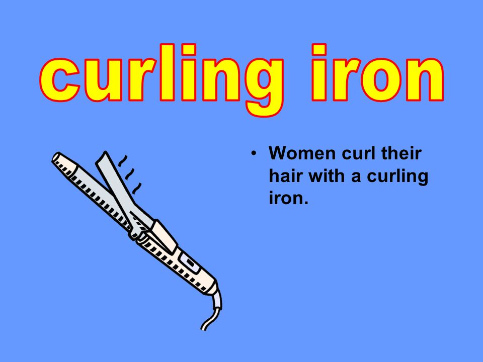 Women curl their hair with a curling iron.