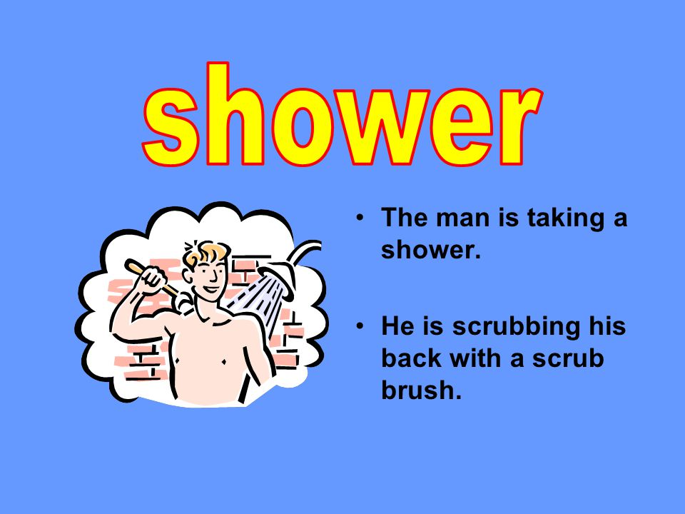 The man is taking a shower. He is scrubbing his back with a scrub brush.