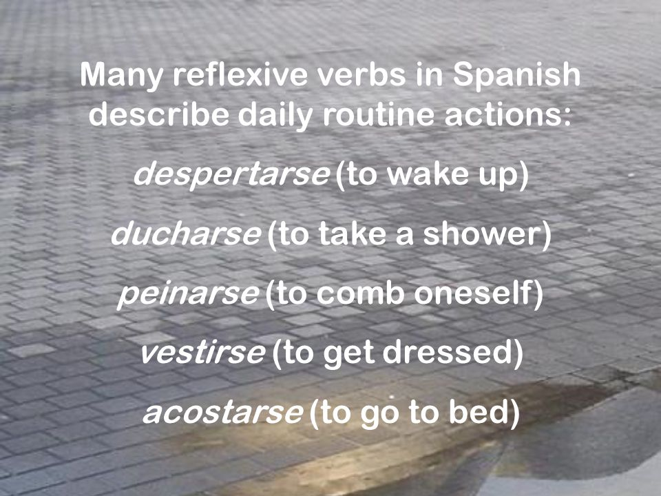 Many reflexive verbs in Spanish describe daily routine actions: despertarse (to wake up) ducharse (to take a shower) peinarse (to comb oneself) vestirse (to get dressed) acostarse (to go to bed)