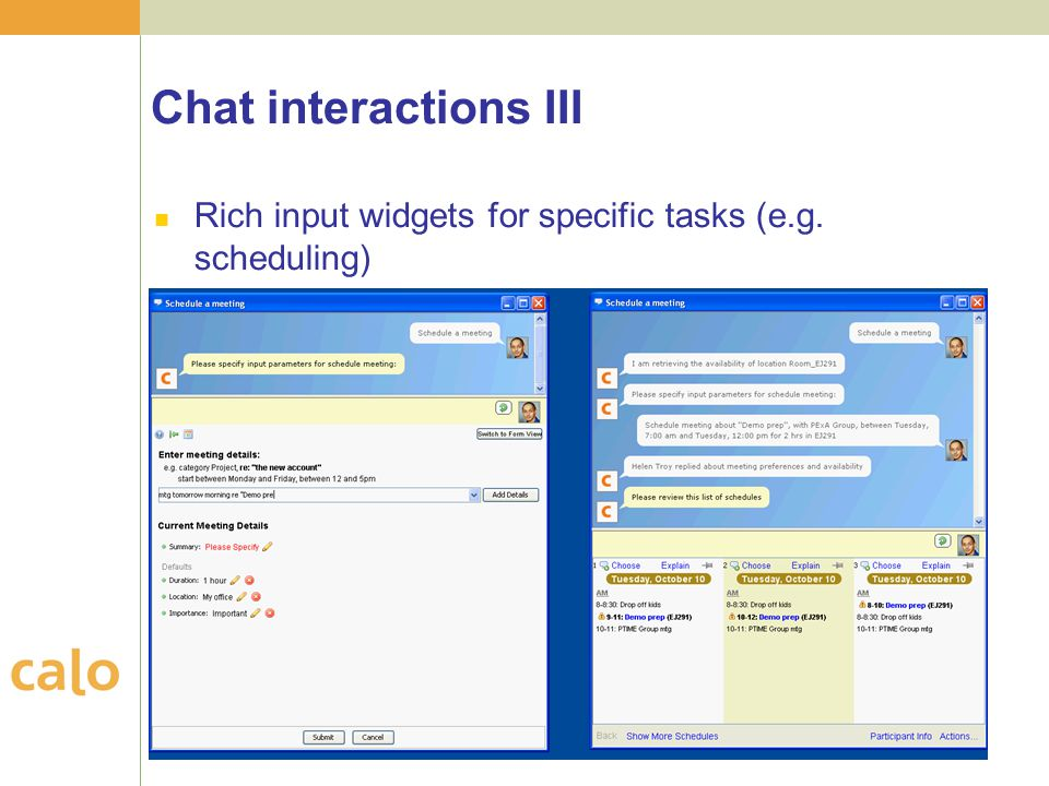 Chat interactions III Rich input widgets for specific tasks (e.g. scheduling)
