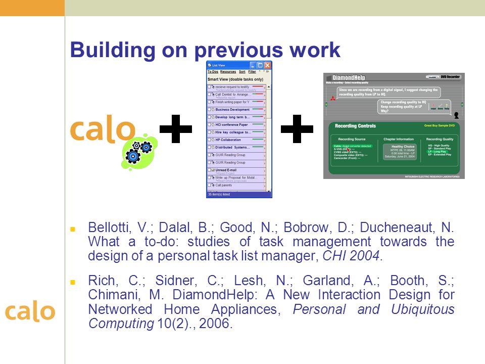 Building on previous work Bellotti, V.; Dalal, B.; Good, N.; Bobrow, D.; Ducheneaut, N.
