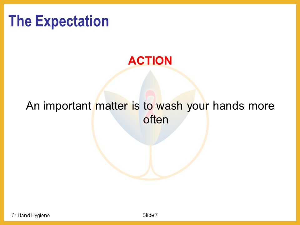 3: Hand Hygiene Slide 7 The Expectation ACTION An important matter is to wash your hands more often