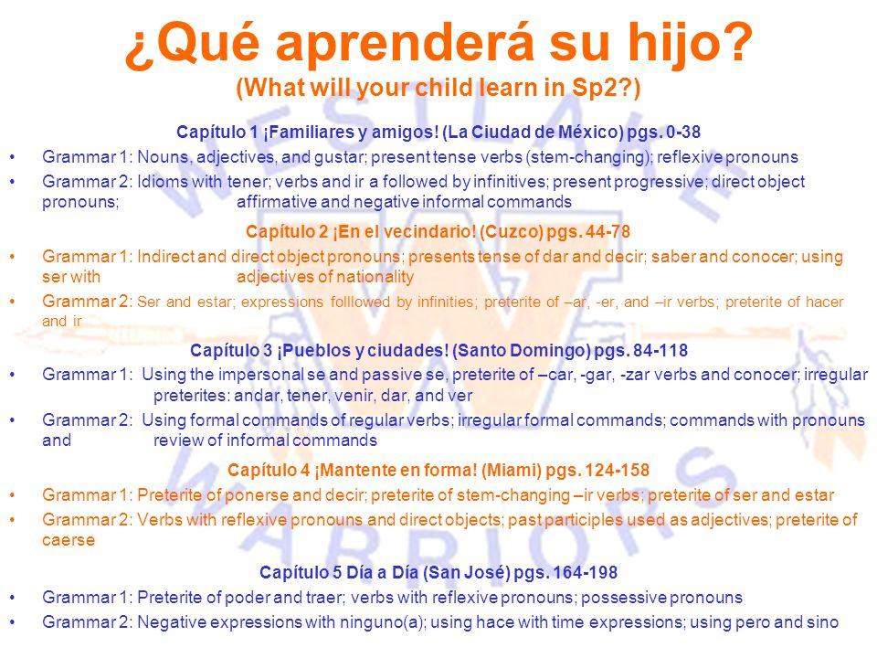 ¿Qué aprenderá su hijo? (What will your child learn in Sp2?) Capítulo 1 ¡Familiares y amigos! (La Ciudad de México) pgs. 0-38 Grammar 1: Nouns, adject