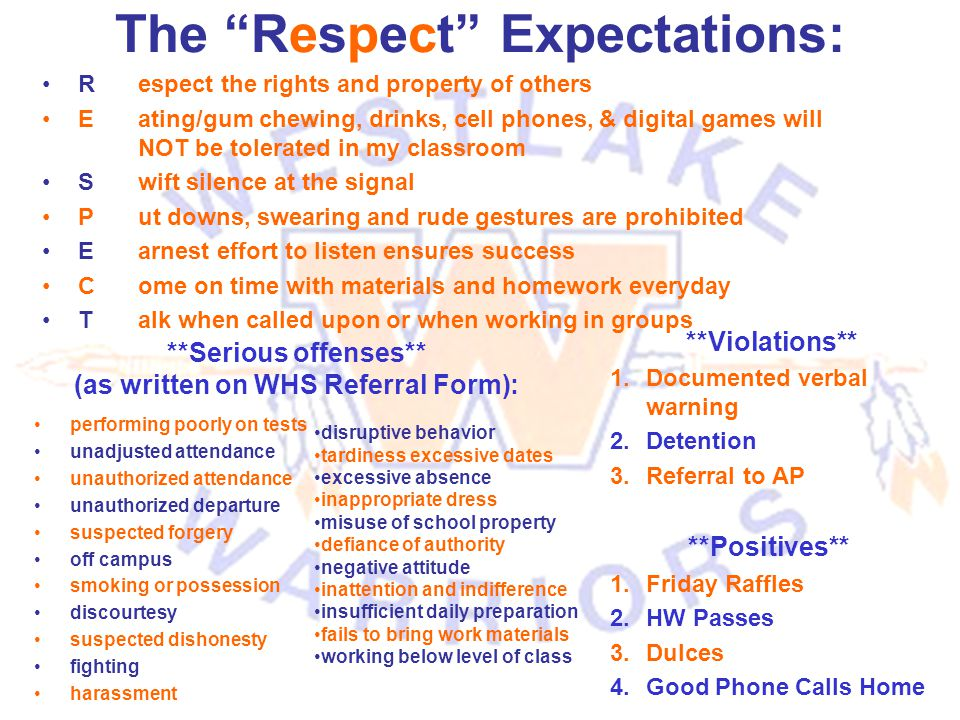 """The """"Respect"""" Expectations: Respect the rights and property of others E ating/gum chewing, drinks, cell phones, & digital games will NOT be tolerated"""