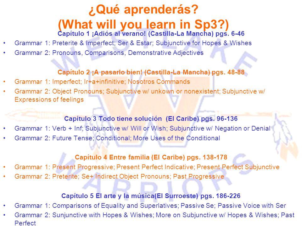 ¿Qué aprenderás? (What will you learn in Sp3?) Capítulo 1 ¡Adiós al verano! (Castilla-La Mancha) pgs. 6-46 Grammar 1: Preterite & Imperfect; Ser & Est