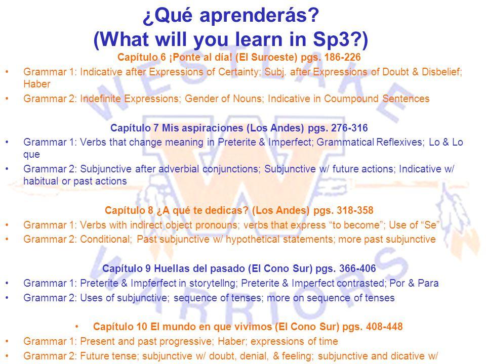 ¿Qué aprenderás? (What will you learn in Sp3?) Capítulo 6 ¡Ponte al día! (El Suroeste) pgs. 186-226 Grammar 1: Indicative after Expressions of Certain