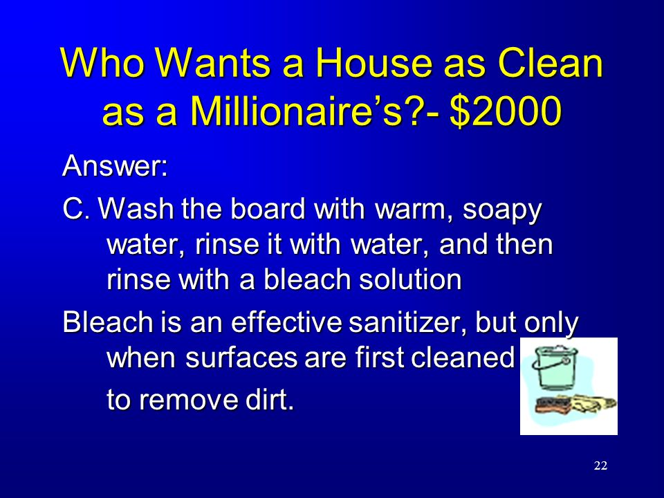 22 Who Wants a House as Clean as a Millionaire's - $2000 Answer: C.