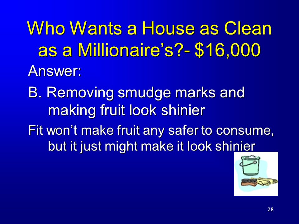 28 Who Wants a House as Clean as a Millionaire's - $16,000 Answer: B.