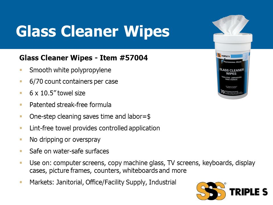 """Glass Cleaner Wipes - Item #57004  Smooth white polypropylene  6/70 count containers per case  6 x 10.5"""" towel size  Patented streak-free formula"""