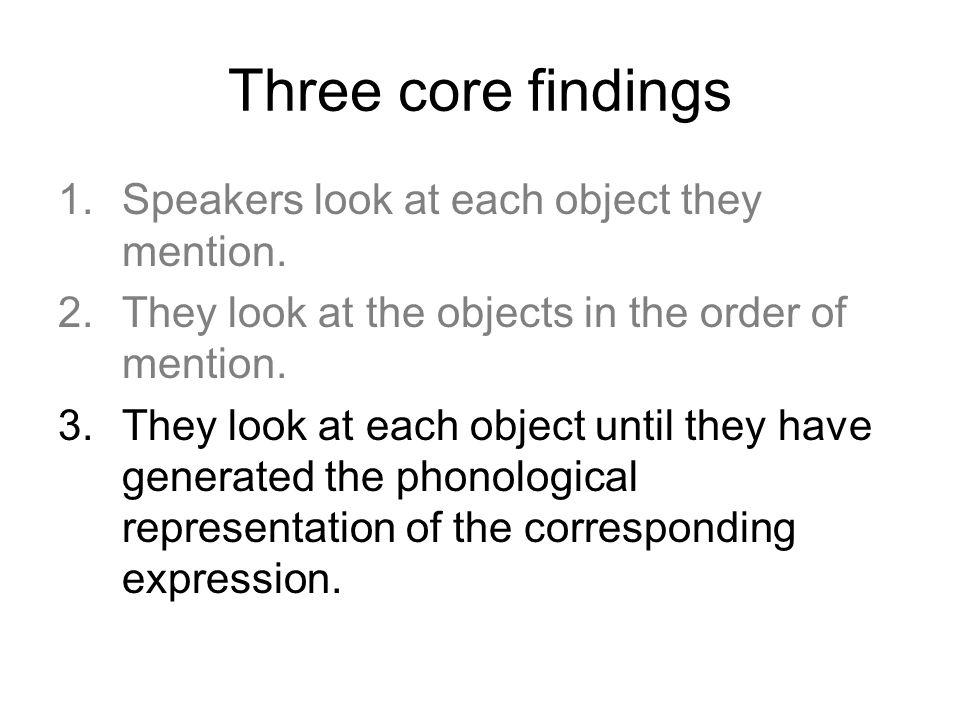 Three core findings 1.Speakers look at each object they mention. 2.They look at the objects in the order of mention. 3.They look at each object until