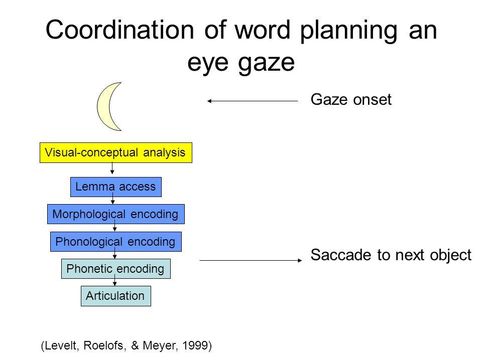 Coordination of word planning an eye gaze Lemma access Morphological encoding Phonological encoding Phonetic encoding Articulation Visual-conceptual a