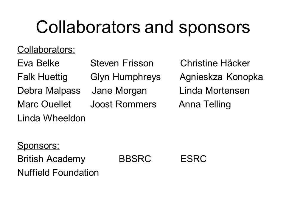 Collaborators and sponsors Collaborators: Eva Belke Steven Frisson Christine Häcker Falk Huettig Glyn Humphreys Agnieskza Konopka Debra Malpass Jane M