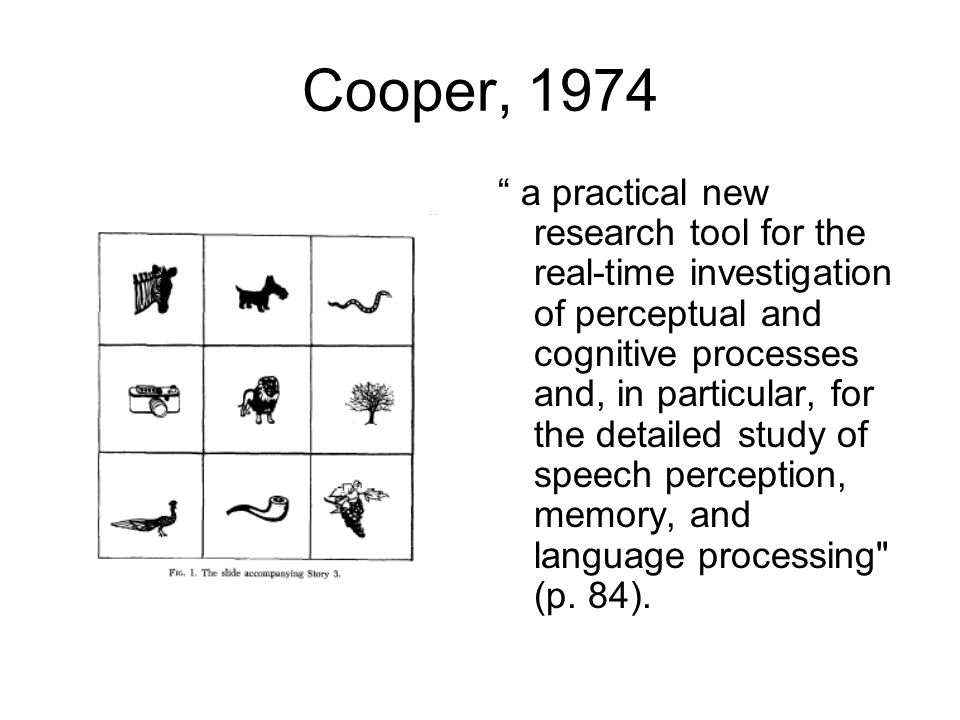 """Cooper, 1974 """" a practical new research tool for the real-time investigation of perceptual and cognitive processes and, in particular, for the detaile"""