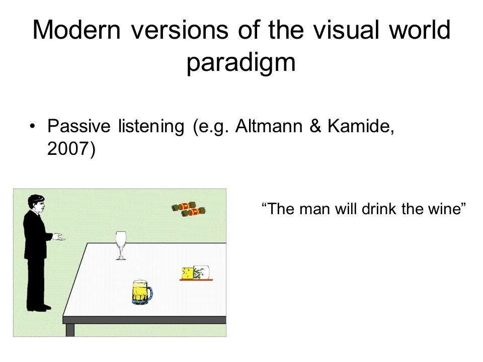 Modern versions of the visual world paradigm Passive listening (e.g.