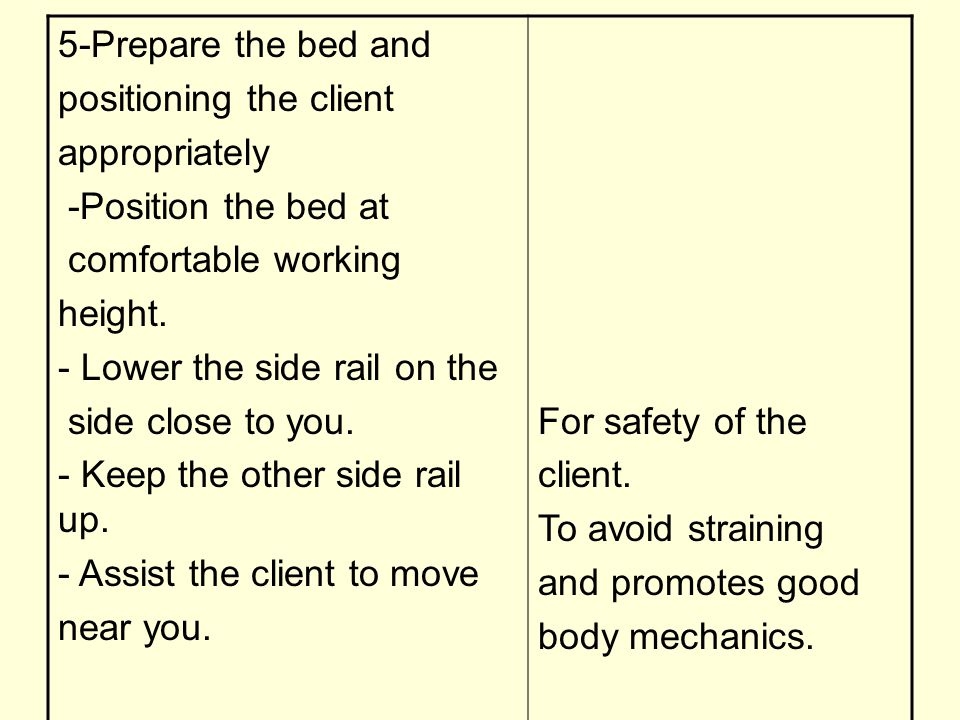 For safety of the client. To avoid straining and promotes good body mechanics. 5-Prepare the bed and positioning the client appropriately -Position th