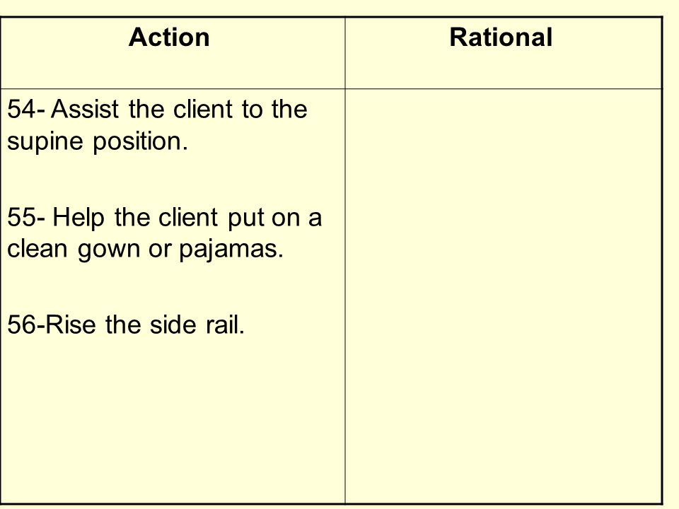 RationalAction 54- Assist the client to the supine position. 55- Help the client put on a clean gown or pajamas. 56-Rise the side rail.