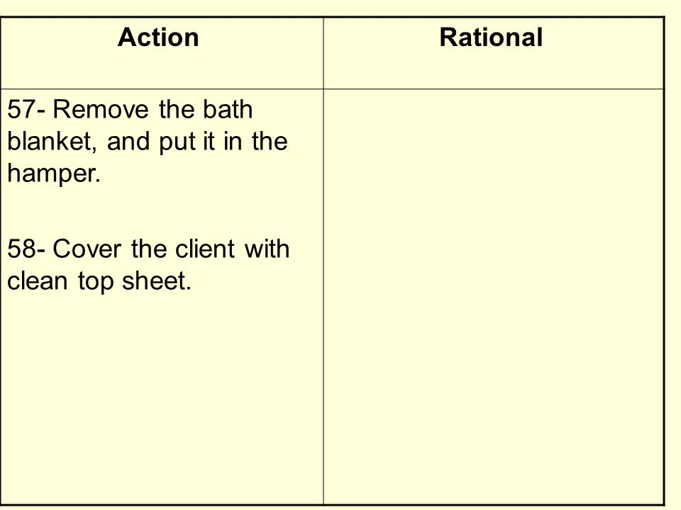 RationalAction 57- Remove the bath blanket, and put it in the hamper. 58- Cover the client with clean top sheet.