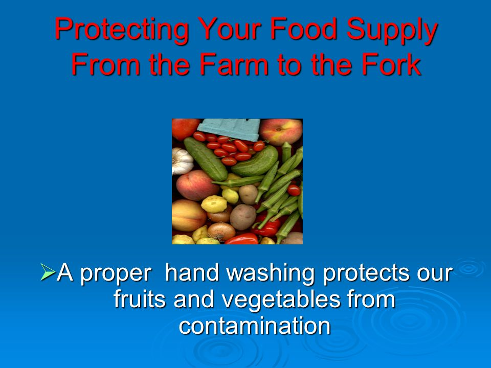 Protecting Your Food Supply From the Farm to the Fork  A proper hand washing protects our fruits and vegetables from contamination