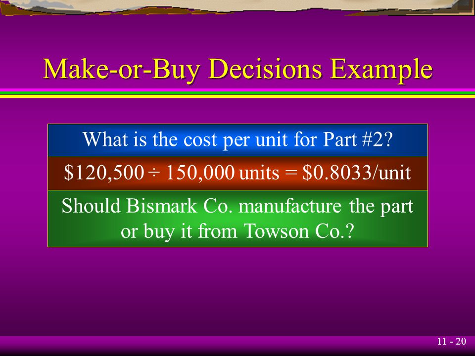 11 - 20 Make-or-Buy Decisions Example What is the cost per unit for Part #2? $120,500 ÷ 150,000 units = $0.8033/unit Should Bismark Co. manufacture th