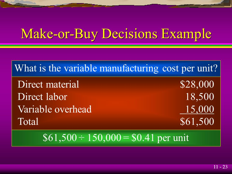 11 - 23 Make-or-Buy Decisions Example What is the variable manufacturing cost per unit? $61,500 ÷ 150,000 = $0.41 per unit Direct material$28,000 Dire