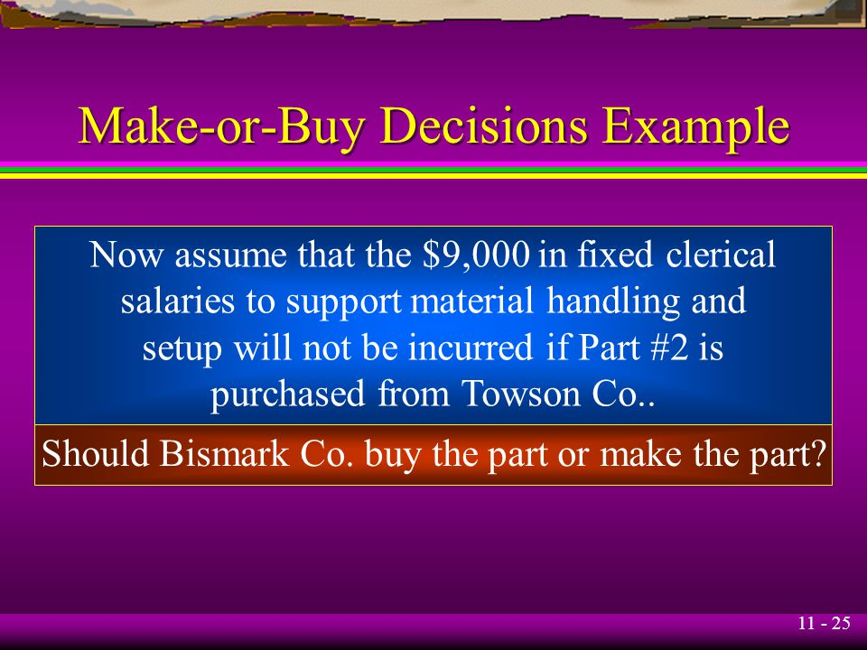 11 - 25 Make-or-Buy Decisions Example Now assume that the $9,000 in fixed clerical salaries to support material handling and setup will not be incurre