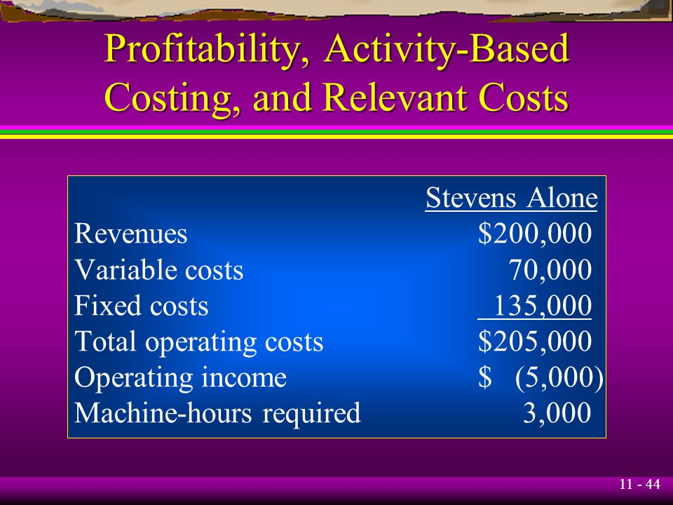 11 - 44 Profitability, Activity-Based Costing, and Relevant Costs Stevens Alone Revenues$200,000 Variable costs 70,000 Fixed costs 135,000 Total opera