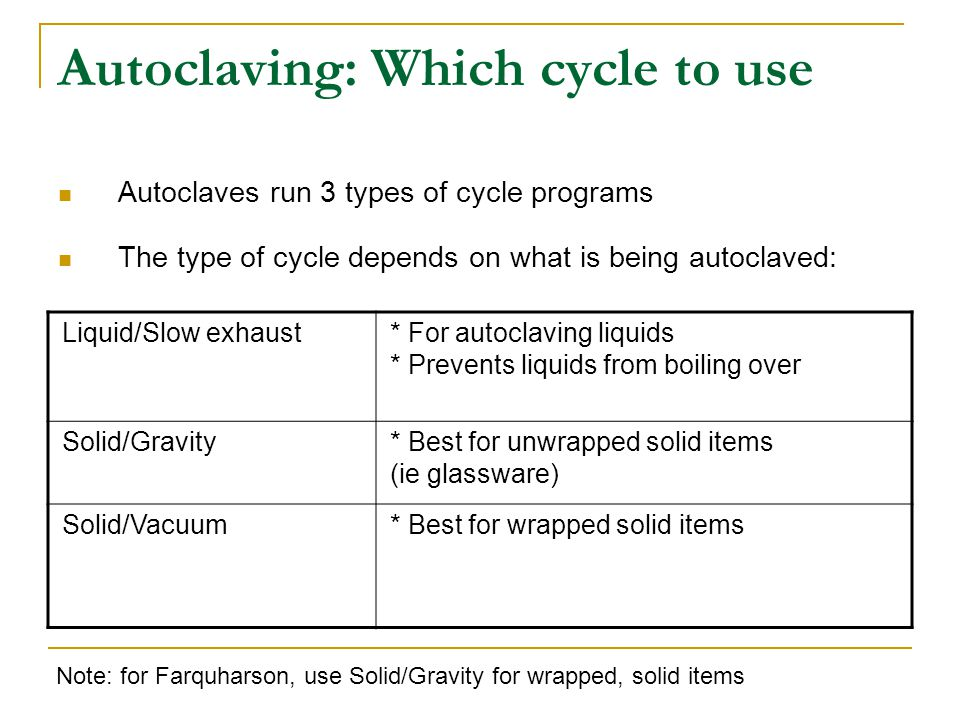 Autoclaving: Which cycle to use Autoclaves run 3 types of cycle programs The type of cycle depends on what is being autoclaved: Liquid/Slow exhaust* For autoclaving liquids * Prevents liquids from boiling over Solid/Gravity* Best for unwrapped solid items (ie glassware) Solid/Vacuum* Best for wrapped solid items Note: for Farquharson, use Solid/Gravity for wrapped, solid items