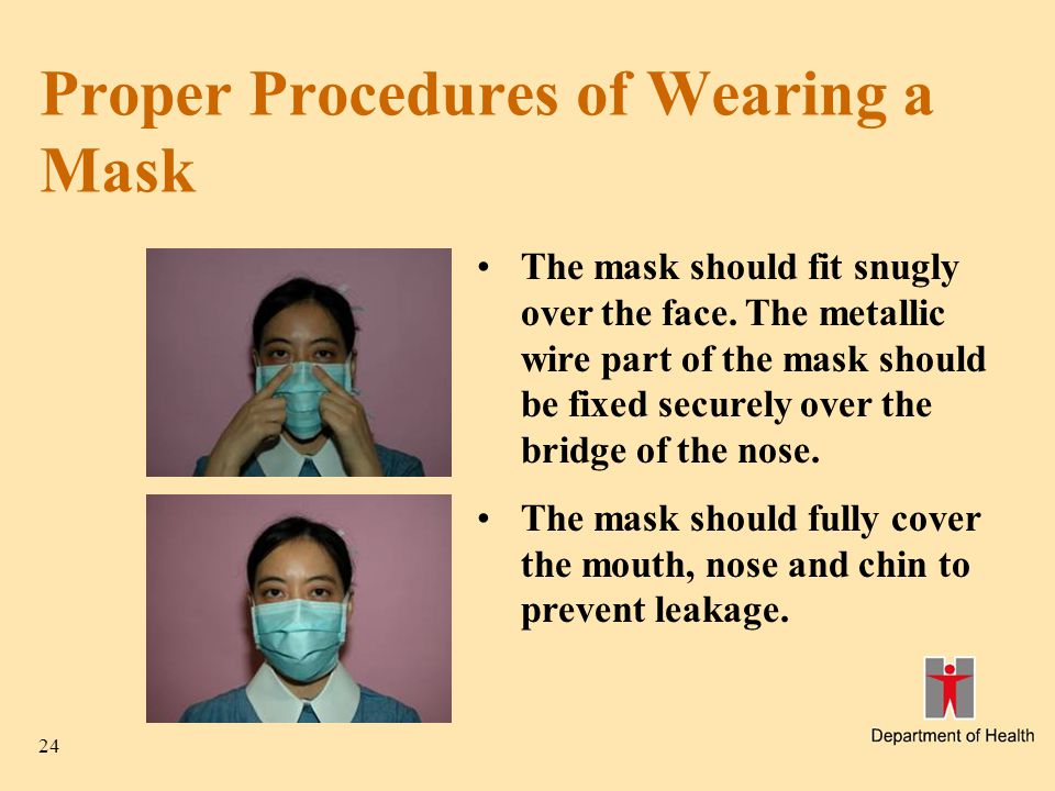 24 Proper Procedures of Wearing a Mask The mask should fit snugly over the face. The metallic wire part of the mask should be fixed securely over the