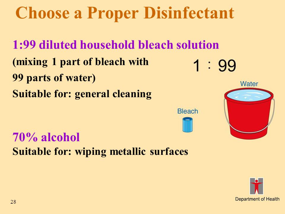 28 Choose a Proper Disinfectant 1:99 diluted household bleach solution (mixing 1 part of bleach with 99 parts of water) Suitable for: general cleaning
