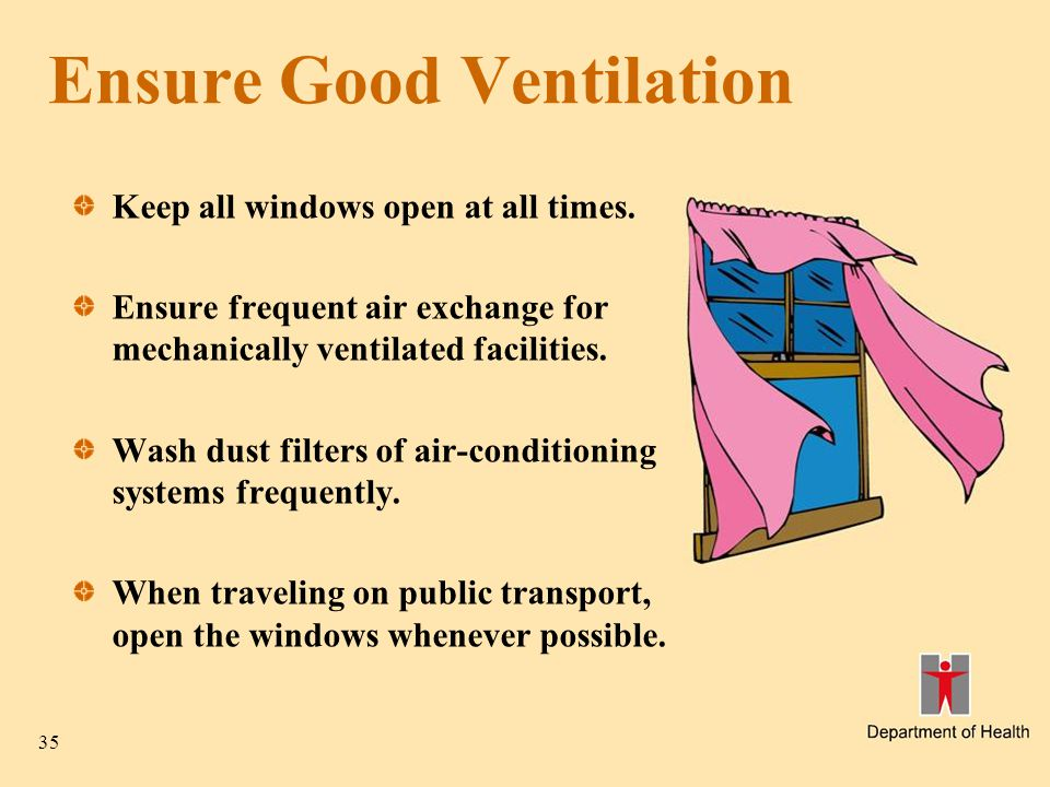 35 Ensure Good Ventilation Keep all windows open at all times.