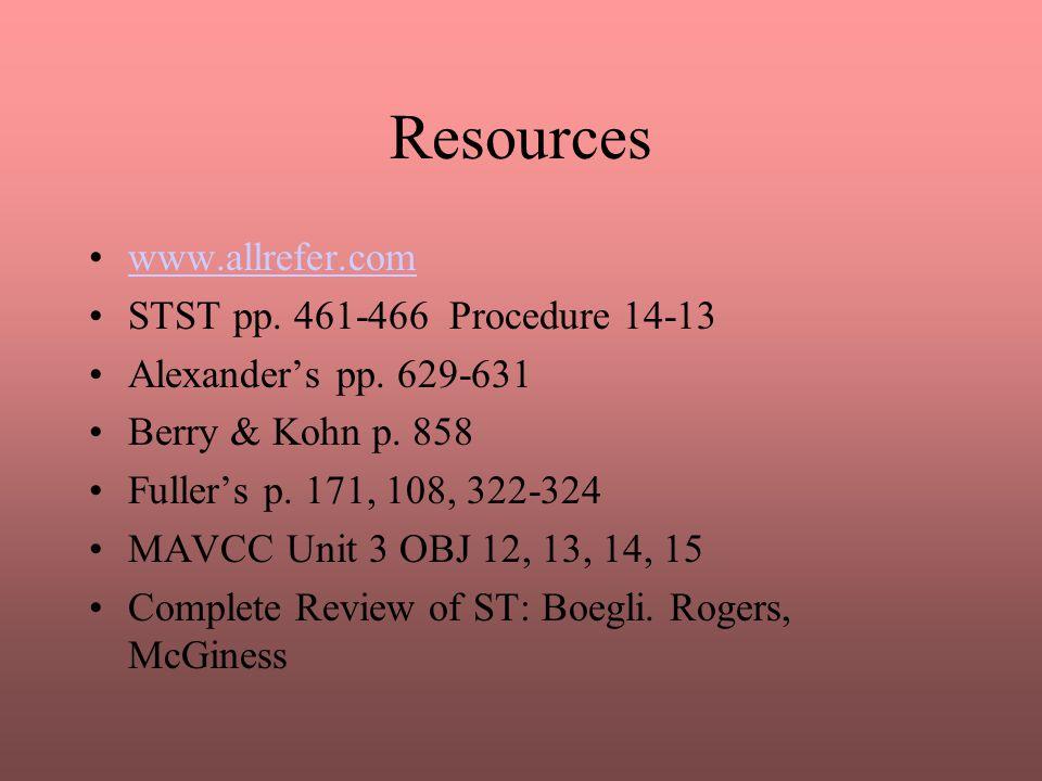 Resources www.allrefer.com STST pp. 461-466 Procedure 14-13 Alexander's pp. 629-631 Berry & Kohn p. 858 Fuller's p. 171, 108, 322-324 MAVCC Unit 3 OBJ