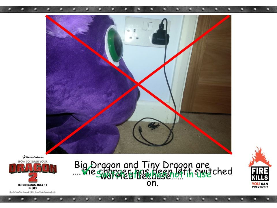 Big Dragon and Tiny Dragon are worried because…… ….the charger has been left switched on. Switch off when not in use