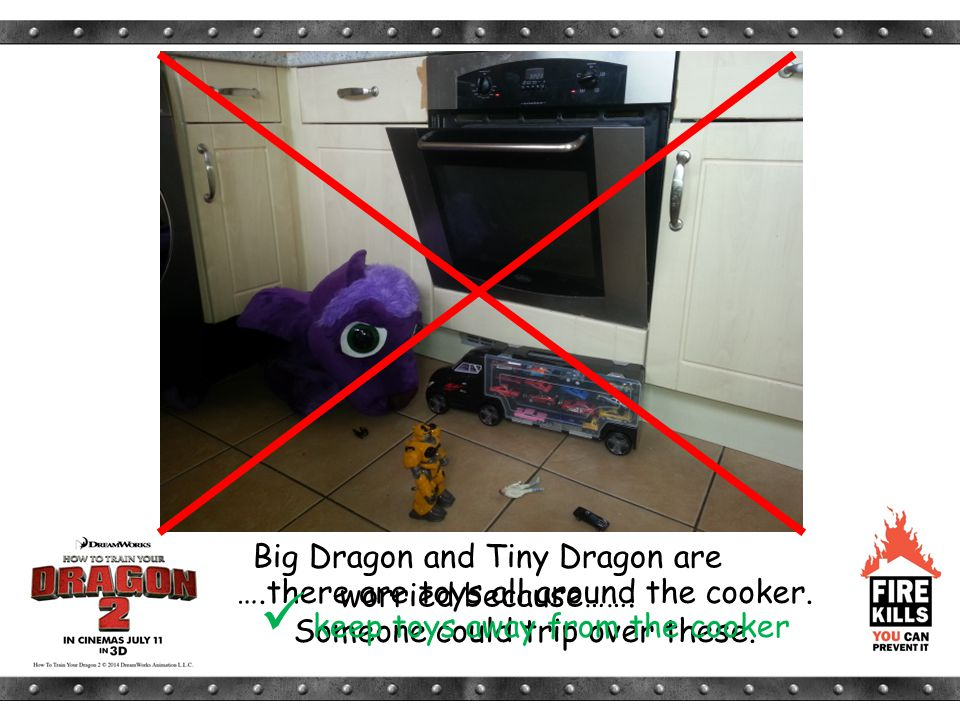 Big Dragon and Tiny Dragon are worried because……. ….there are toys all around the cooker. Someone could trip over these. keep toys away from the cooke