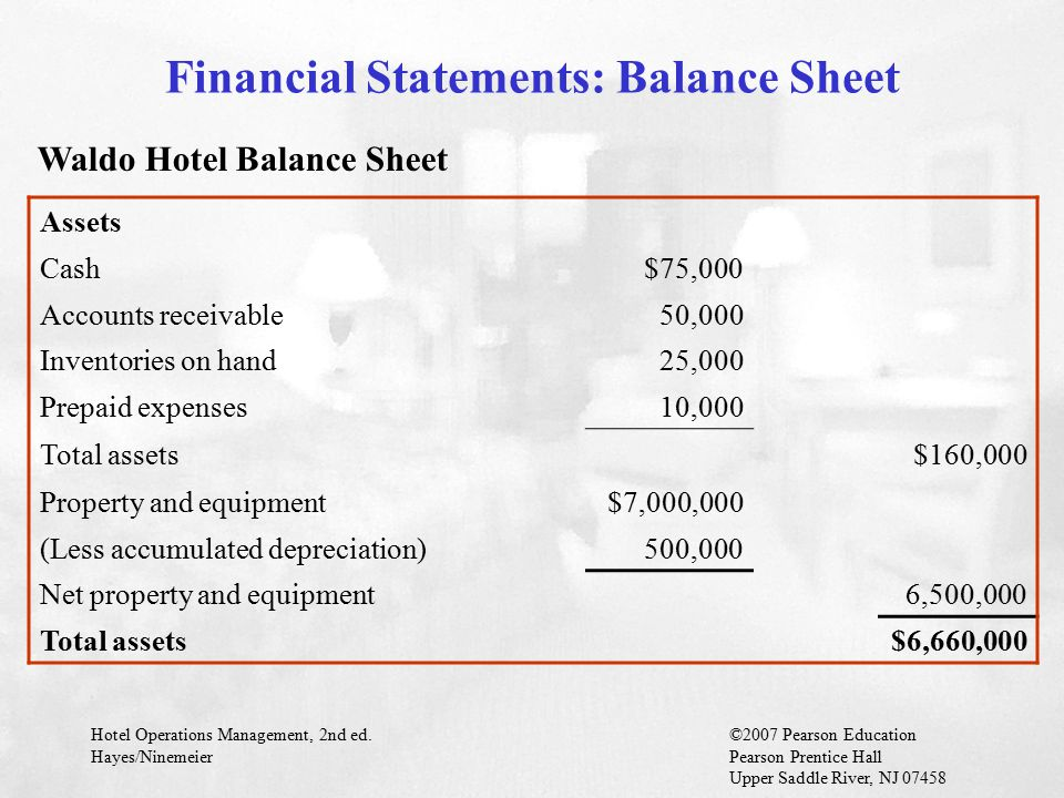 Hotel Operations Management, 2nd ed.©2007 Pearson Education Hayes/NinemeierPearson Prentice Hall Upper Saddle River, NJ 07458 Financial Statements: Balance Sheet Waldo Hotel Balance Sheet Assets Cash$75,000 Accounts receivable50,000 Inventories on hand25,000 Prepaid expenses10,000 Total assets$160,000 Property and equipment$7,000,000 (Less accumulated depreciation)500,000 Net property and equipment6,500,000 Total assets$6,660,000