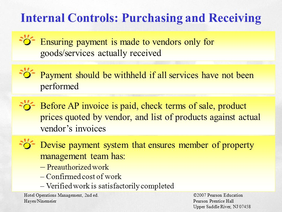 Hotel Operations Management, 2nd ed.©2007 Pearson Education Hayes/NinemeierPearson Prentice Hall Upper Saddle River, NJ 07458 Ensuring payment is made